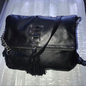 Black Nine West with silver chain purse